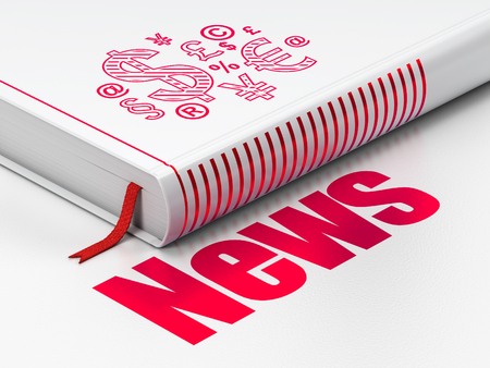 News concept: closed book with Red Finance Symbol icon and text News on floor, white background, 3D rendering Stock Photo