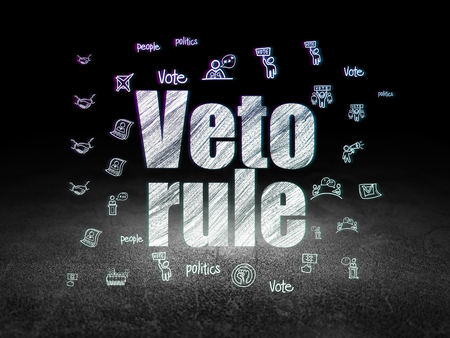 veto: Politics concept: Glowing text Veto Rule,  Hand Drawn Politics Icons in grunge dark room with Dirty Floor, black background