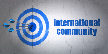 hitting a wall: Success political concept: arrows hitting the center of target, Blue International Community on wall background, 3D rendering