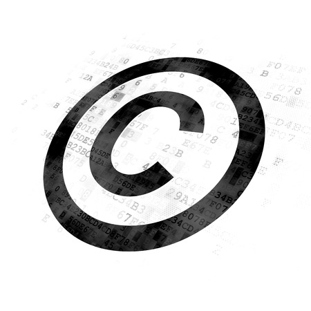 cyber defence: Law concept: Pixelated black Copyright icon on Digital background