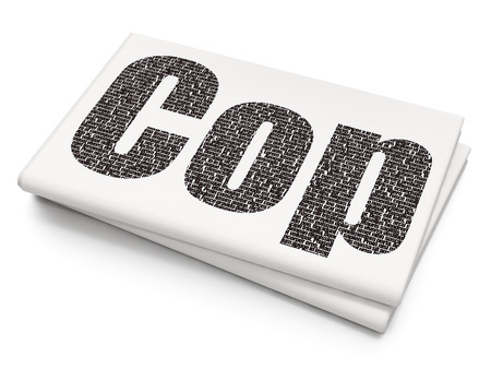 法の概念: ピクセルの黒いテキスト警官空白新聞の背景に 3 D レンダリング