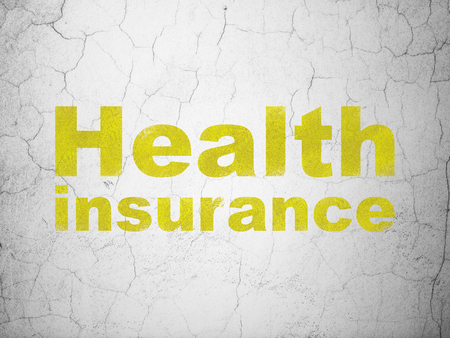 textured wall: Insurance concept: Yellow Health Insurance on textured concrete wall background Stock Photo