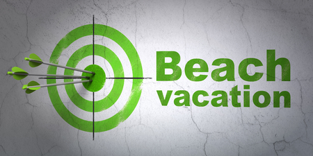 hitting a wall: Success travel concept: arrows hitting the center of target, Green Beach Vacation on wall background, 3D rendering