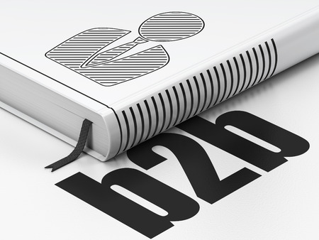 b2b: Business concept: closed book with Black Business Man icon and text B2b on floor, white background, 3D rendering