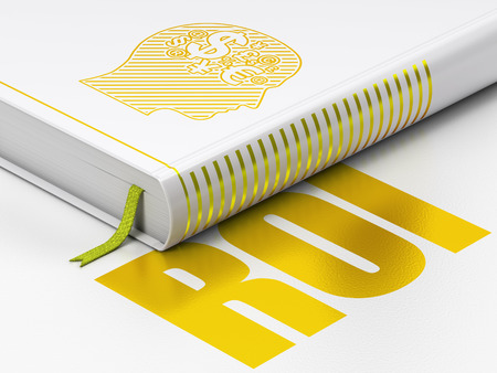 Finance concept: closed book with Gold Head With Finance Symbol icon and text ROI on floor, white background, 3D rendering