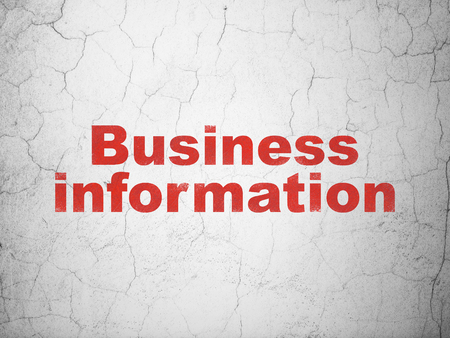 textured wall: Business concept: Red Business Information on textured concrete wall background Stock Photo
