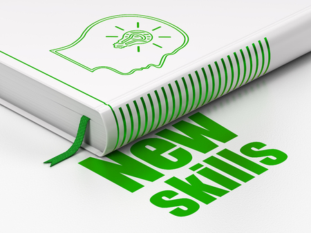 learning new skills: Learning concept: closed book with Green Head With Lightbulb icon and text New Skills on floor, white background, 3D rendering