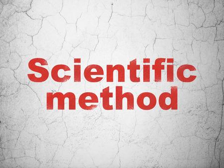 metodo cientifico: Concepto de la ciencia: Método Científico rojo en el fondo muro de hormigón con textura
