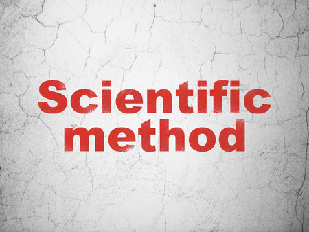 science scientific: Science concept: Red Scientific Method on textured concrete wall background