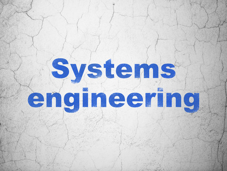 textured wall: Science concept: Blue Systems Engineering on textured concrete wall background