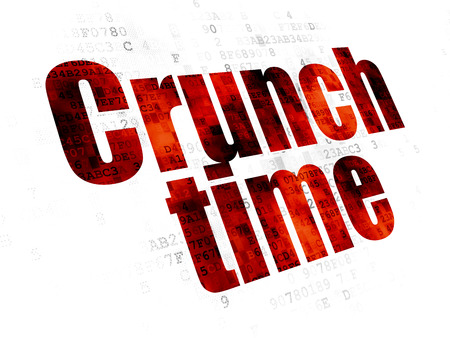 pixelated: Business concept: Pixelated red text Crunch Time on Digital background Stock Photo