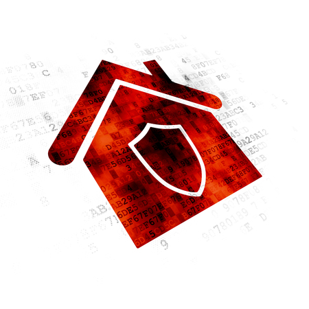 Business concept: Pixelated red Home icon on Digital background