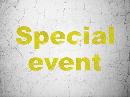 textured wall: Business concept: Yellow Special Event on textured concrete wall background Stock Photo