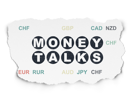 conversaciones: Concepto de negocio: Pintado de texto negro negociaciones del dinero en el fondo de papel rasgado con moneda