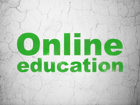 antique sleigh: Learning concept: Green Online Education on textured concrete wall background