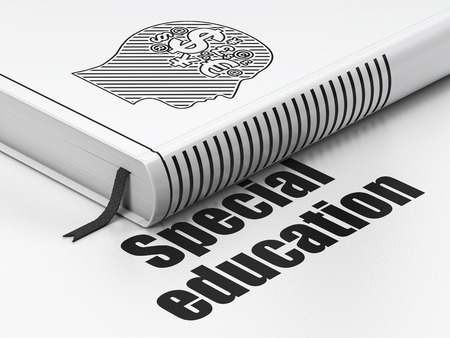 special education: Learning concept: closed book with Black Head With Finance Symbol icon and text Special Education on floor, white background, 3D rendering Stock Photo