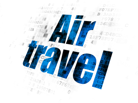 air travel: Tourism concept: Pixelated blue text Air Travel on Digital background