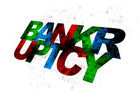 Concepto de ley: bancarrota multicolor pixelada del texto en fondo digital