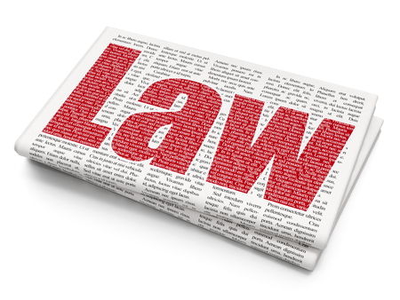 Law concept: Pixelated red text Law on Newspaper background, 3D rendering