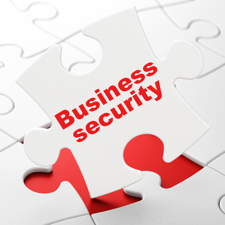 Protection concept: Business Security on White puzzle pieces background, 3D rendering Stock Photo