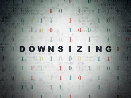 downsizing: Finance concept: Painted black text Downsizing on Digital Data Paper background with Binary Code