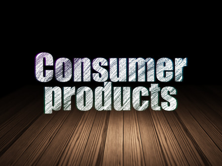 consumer products: Business concept: Glowing text Consumer Products in grunge dark room with Wooden Floor, black background Stock Photo