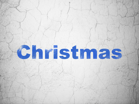 textured wall: Holiday concept: Blue Christmas on textured concrete wall background