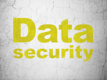 Security concept: Yellow Data Security on textured concrete wall background