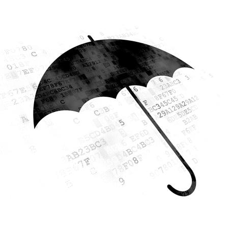 Privacy concept: Pixelated black Umbrella icon on Digital background