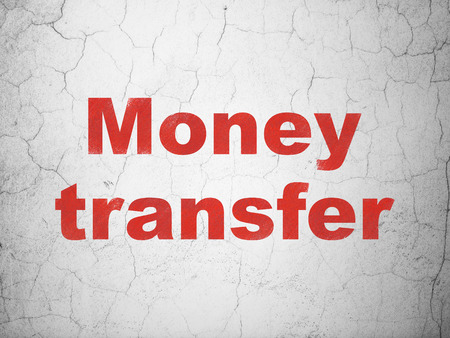 textured wall: Business concept: Red Money Transfer on textured concrete wall background