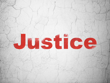 textured wall: Law concept: Red Justice on textured concrete wall background