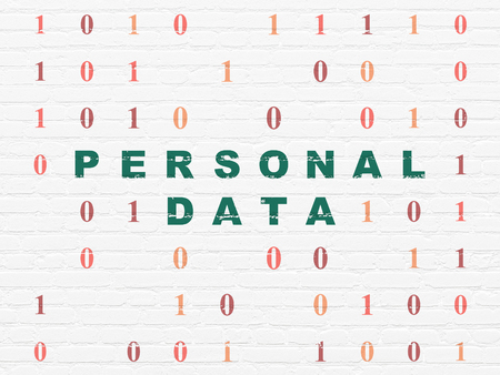 datos personales: Information concept: Painted green text Personal Data on White Brick wall background with Binary Code