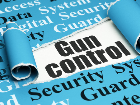 Protection concept: black text Gun Control under the curled piece of Blue torn paper with  Tag Cloud, 3D rendering