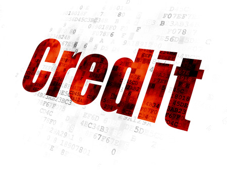 Finance concept: Pixelated red text Credit on Digital background Stock Photo