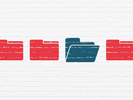 doctor money: Business concept: row of Painted red folder icons around blue folder icon on White Brick wall background