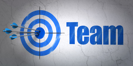 hitting a wall: Success business concept: arrows hitting the center of target, Blue Team on wall background, 3D rendering