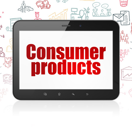 consumer products: Business concept: Tablet Computer with  red text Consumer Products on display,  Hand Drawn Business Icons background, 3D rendering
