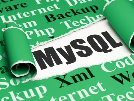 mysql: Database concept: black text MySQL under the curled piece of Green torn paper with  Tag Cloud, 3D rendering