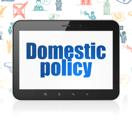 domestic policy: Political concept: Tablet Computer with  blue text Domestic Policy on display,  Hand Drawn Politics Icons background, 3D rendering