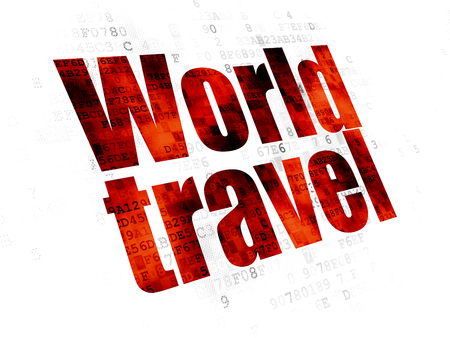 Tourism concept: Pixelated red text World Travel on Digital background