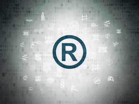 r regulation: Law concept: Painted blue Registered icon on Digital Data Paper background with  Hand Drawn Law Icons Stock Photo