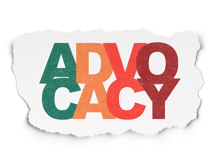 Law concept: Painted multicolor text Advocacy on Torn Paper background