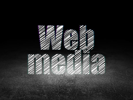 Web design concept: Glowing text Web Media in grunge dark room with Dirty Floor, black background Stock Photo