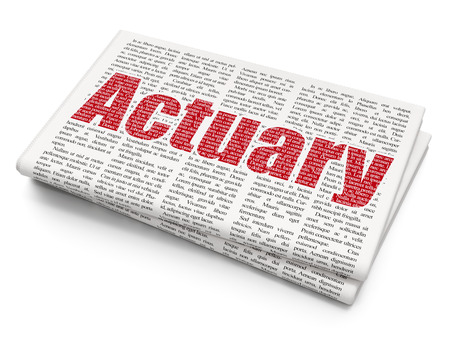 actuary: Insurance concept: Pixelated red text Actuary on Newspaper background, 3D rendering