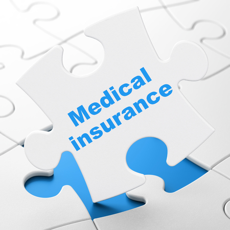 Insurance concept: Medical Insurance on White puzzle pieces background, 3D rendering