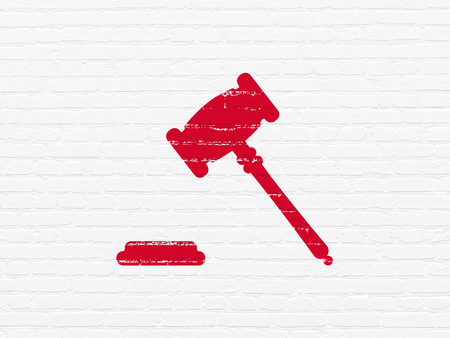 building regulations: Law concept: Painted red Gavel icon on White Brick wall background