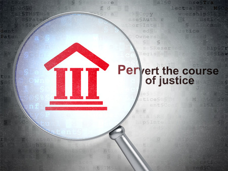 pervert: Law concept: magnifying optical glass with Courthouse icon and Pervert the course Of Justice word on digital background, 3D rendering
