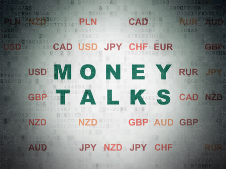 conversaciones: Finance concept: Painted green text Money Talks on Digital Data Paper background with Currency