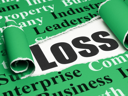 Finance concept: black text Loss under the curled piece of Green torn paper with  Tag Cloud, 3D rendering Stock Photo