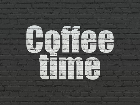 cronologia: Timeline concept: Painted white text Coffee Time on Black Brick wall background Foto de archivo